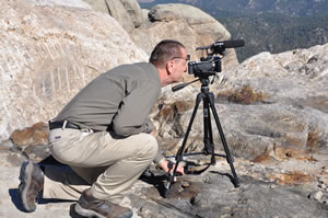 Otto shooting video atop Mount Rushmore
