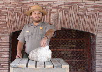Dustin Baker, a Park Ranger and Mount Rushmore's sculptor in residence, 2011