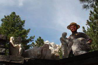 Dustin Baker with pieces created at Mount Rushmore