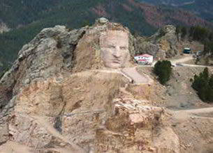 Aerial view of Crazy Horse Monument South Dakota 2011